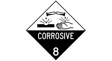 safety signs to warn about corrosives